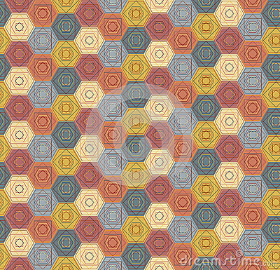 Pattern with outlined hexagons and squares Vector Illustration
