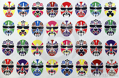 Pattern of painted faces.