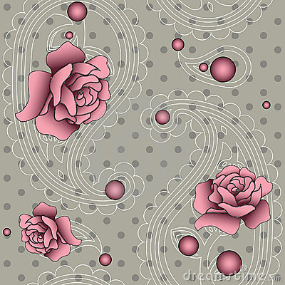 Pattern with paisley, beads and roses