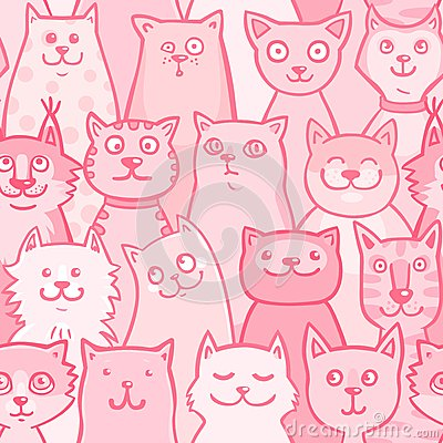 Free Pattern Pink Cats Stock Photo - 34983030