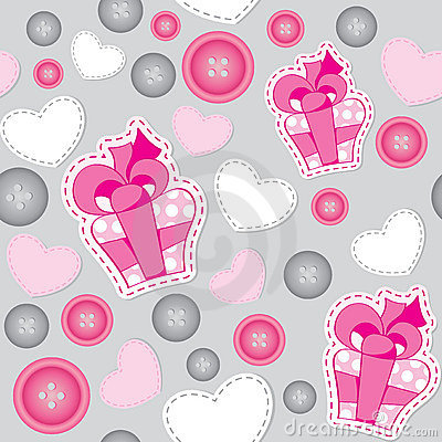 Pattern with pink gift boxes