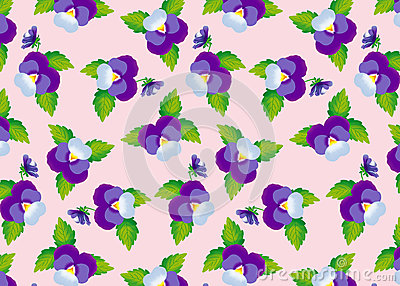 Pattern purple pansies