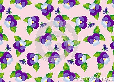 Pattern purple pansies