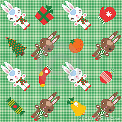 Pattern with rabbits and christmas decorations
