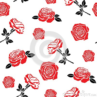 Pattern of red flowers roses