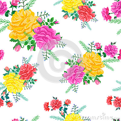 Pattern with red,pink and yellow roses Vector Illustration