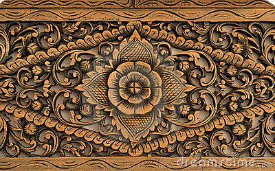 Pattern Of Rose Carved On Wood Royalty Free Stock Photo - Image ...
