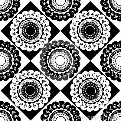 Pattern of round black and white ornaments
