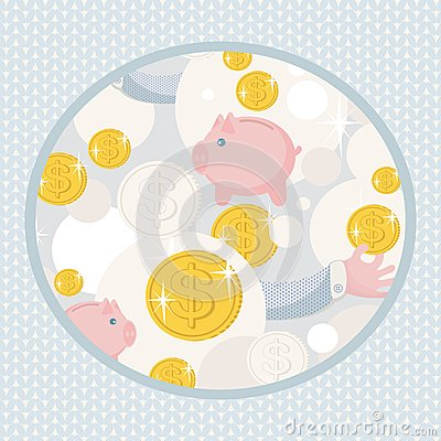 Pattern with saving pigs and money.