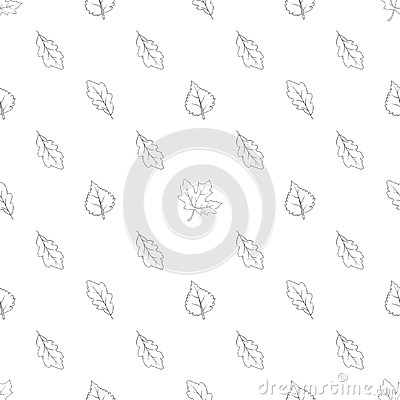 Pattern the seamless monochrome with leaves 01 Vector Illustration