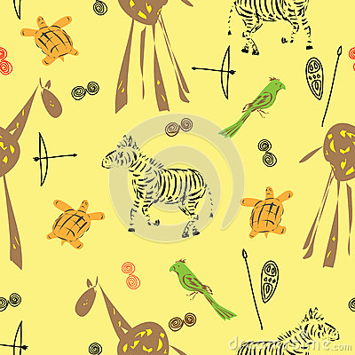 Pattern seamless with various elements of animals