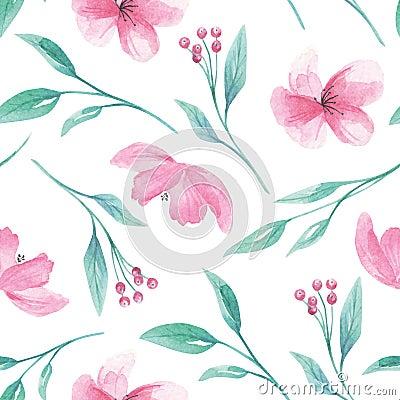 Free Pattern Seamless Watercolor Aqua Green Leaves Leaf Berries Blooms Stock Photo - 111389760