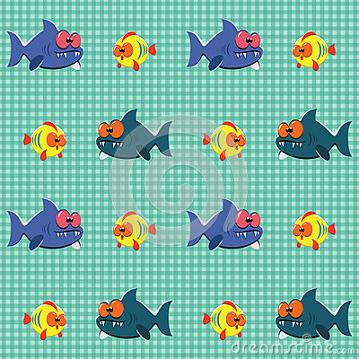 Pattern with sharks and fishes