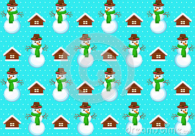 Pattern with snowmans