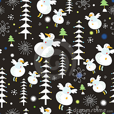 Pattern of snowmen and Christmas trees
