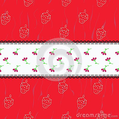 Pattern with strawberries