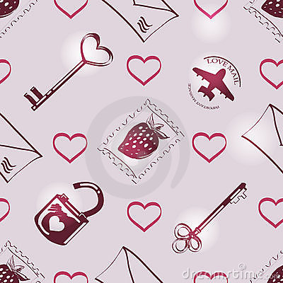 Pattern with symbols of love