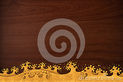 Pattern thai carve wave gold on wood texture