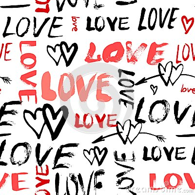 Free Pattern With Hand Painted Words Love Royalty Free Stock Images - 48640389