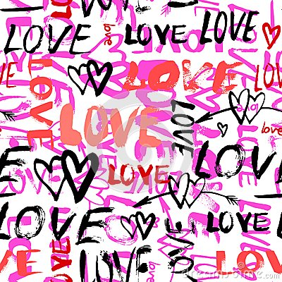 Free Pattern With Hand Painted Words Love Stock Photography - 48640402