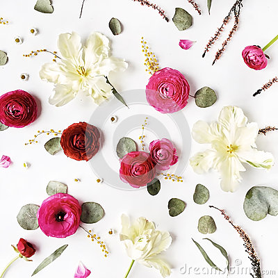 Free Pattern With Pink And Red Roses Or Ranunculus, White Tulips And Green Leaves On White Background Stock Images - 71507144