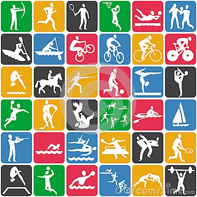 Free Pattern With Sport Icons Stock Photo - 25891440