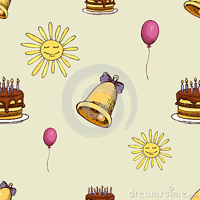 Free Pattern With Sun, Bell And Cake Stock Images - 89638924