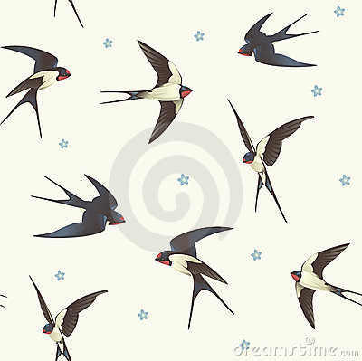 Free Pattern With Swallows Royalty Free Stock Image - 21940426