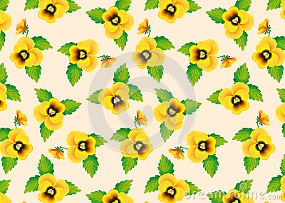 Pattern yellow pansies