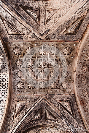 Patterned artwork in the ceiling