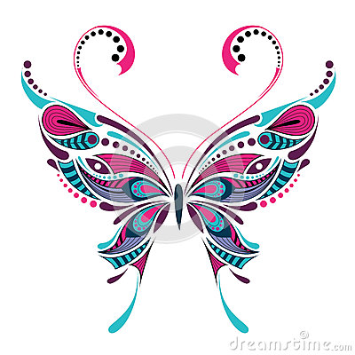 Free Patterned Colored Butterfly. African / Indian / Totem / Tattoo Design Stock Photo - 65897640