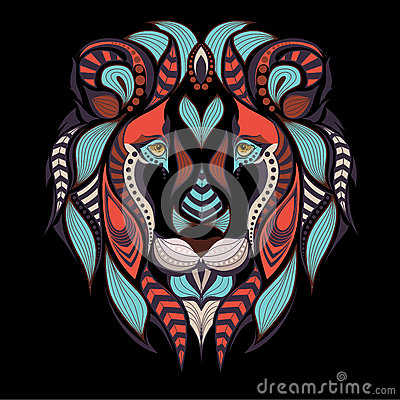 Free Patterned Colored Head Of The Lion. African, Indian Tattoo Design. Stock Image - 70980901