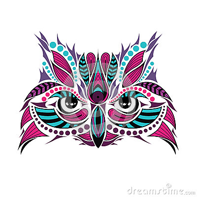 Patterned colored head of the owl. African / indian / totem / tattoo design Vector Illustration
