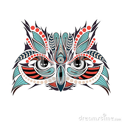 Patterned colored head of the owl. It may be used for design of a t-shirt Vector Illustration