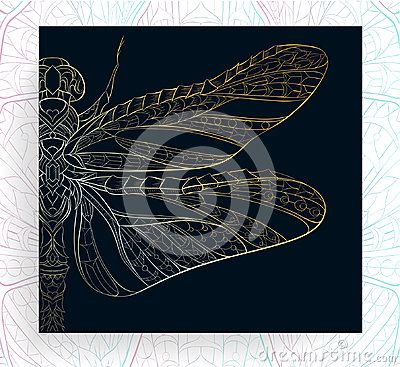 Free Patterned Golden Dragonfly. Royalty Free Stock Images - 97201149