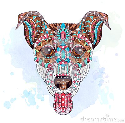 Free Patterned Head Of Dog Terrier Royalty Free Stock Image - 103689036