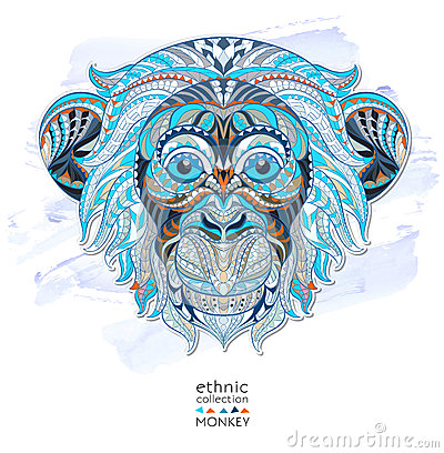 Free Patterned Head Of Monkey Stock Photography - 53667022