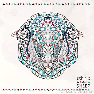 Free Patterned Head Of Sheep Royalty Free Stock Images - 53715219
