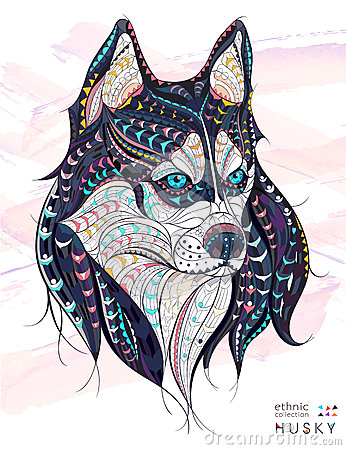 Free Patterned Head Of The Dog Husky Royalty Free Stock Photos - 68585498