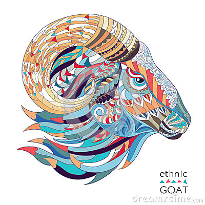 Free Patterned Head Of The Goat Royalty Free Stock Image - 53716946