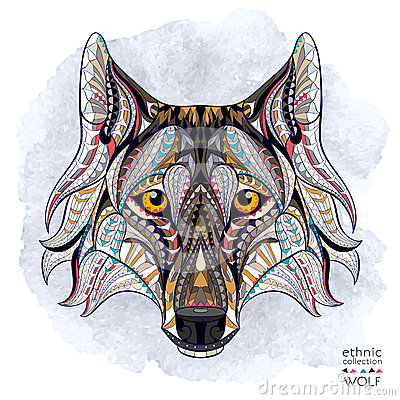 Free Patterned Head Of The Wolf Royalty Free Stock Images - 53667499