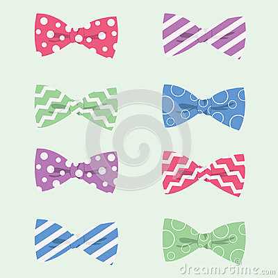 Free Patterned Hipster Bow Ties Vector Illustration Royalty Free Stock Photo - 38066555