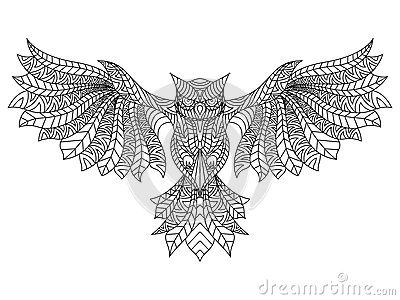 Patterned Owl Coloring Page Stock Photo
