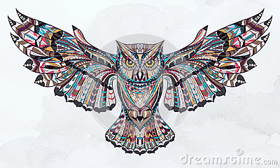 patterned owl stock vector image 53684113