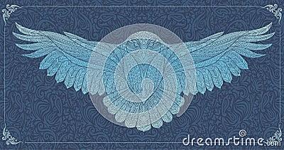 Patterned snowy owl Vector Illustration