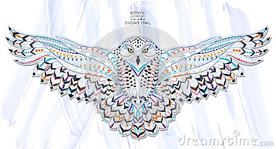 Patterned Snowy Owl Vector Illustration