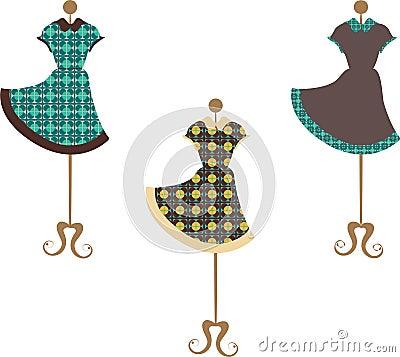 Patterned vintage dresses