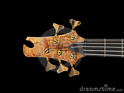Patterned wood bass guitar headstock black