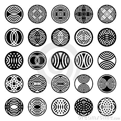 Patterns in circle shape. Design elements.