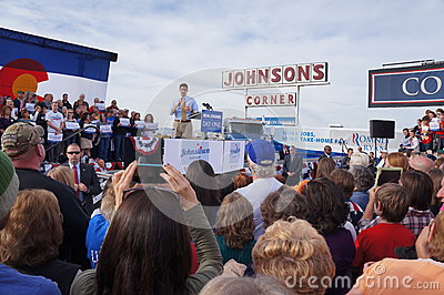 Paul Davis Ryan Rally Mitt Romney Editorial Stock Photo